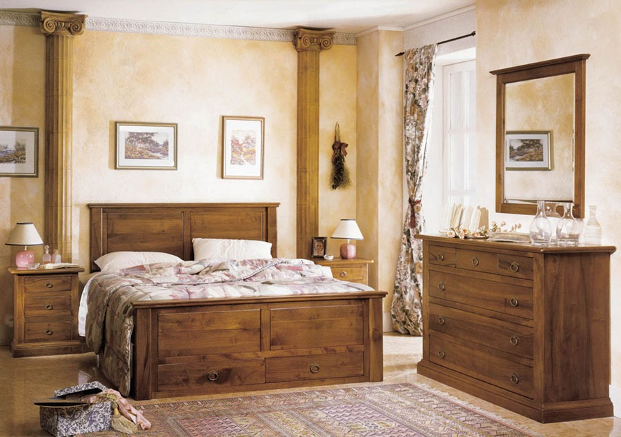 Camera da letto country rustica legno for Accessori per arredare camera da letto